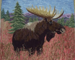 Autumn Sunlit Moose Hooked Rug