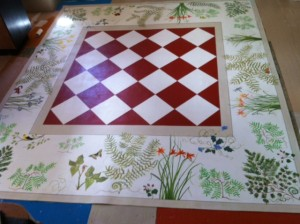 "8 x 10 foot custom order ""Wildlife"" floorcloth for a dining room setting!"