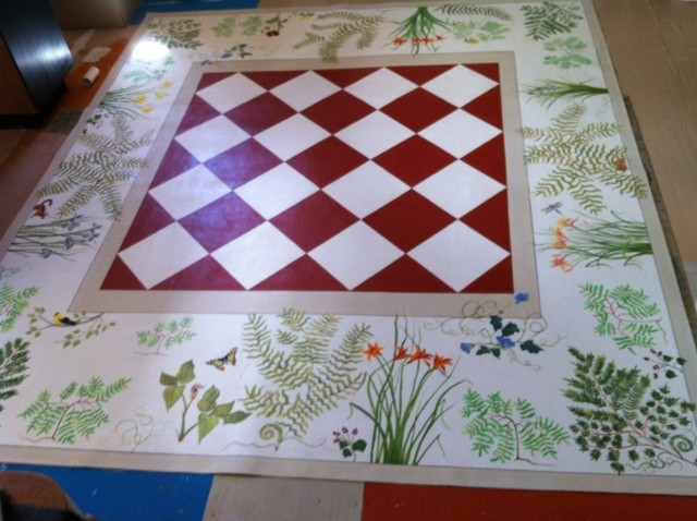"8 x 10 foot custom order ""Wildlife"" floorcloth for a dining room setting!"